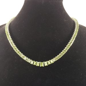 Green Peridot Necklace Rhodium over Sterling